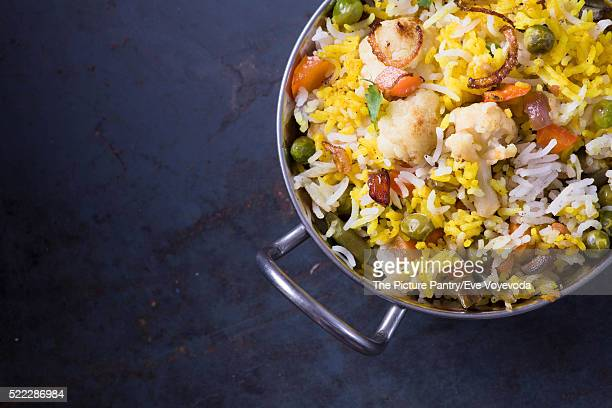 Vegetarian Biryani on dark metal background with copy space