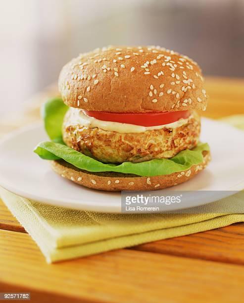vegetarian burger - テンペ ストックフォトと画像