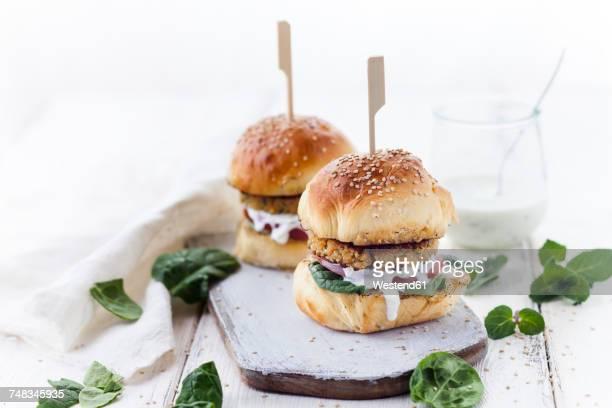 Vegetarian Burger with Halloumi Zucchini Carrot Patty, Tzatziki sauce, homemade bun