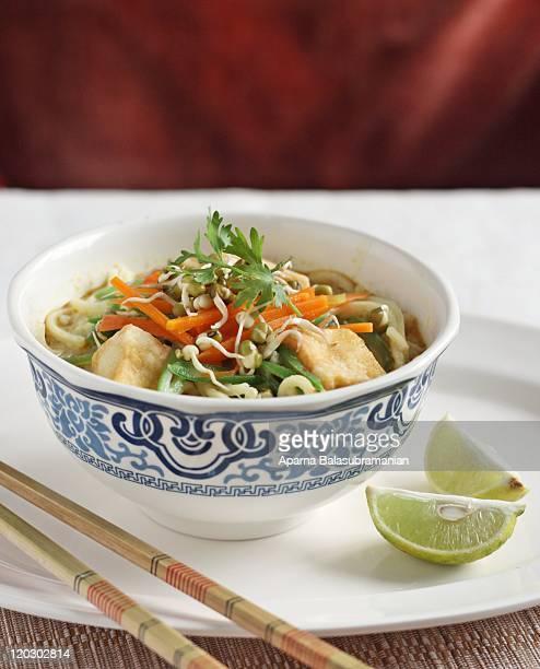 vegetarian curry laksa - panjim stock photos and pictures