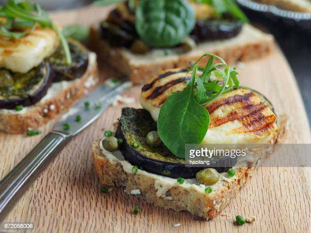 Vegetarian grilled aubergine open sandwich