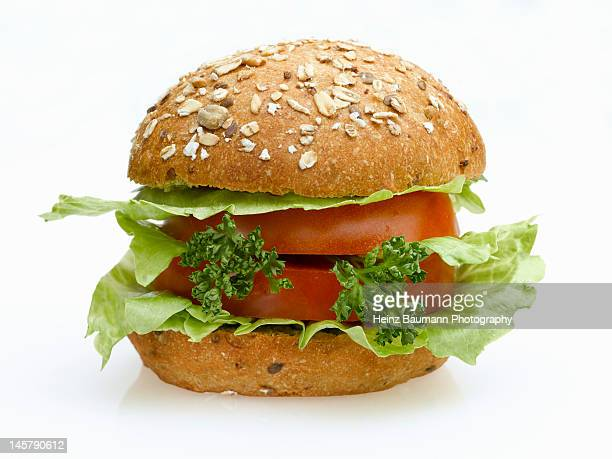 Vegetarian hamburger with parsley