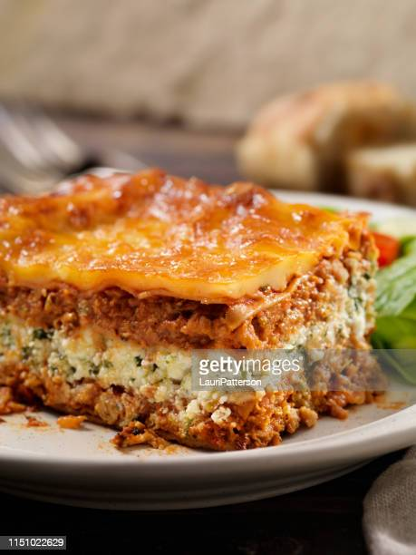 Vegetarian Lasagna with Plant Based Protein Meat Substitute and Gluten free Noodles