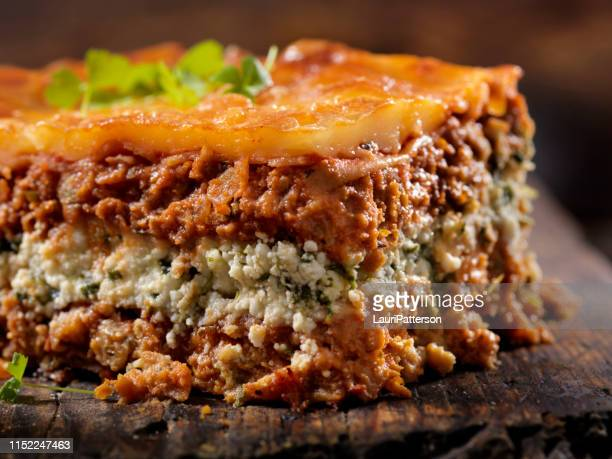 vegetarian lasagna with plant based protein meat substitute and gluten free noodles - lasagna stock pictures, royalty-free photos & images