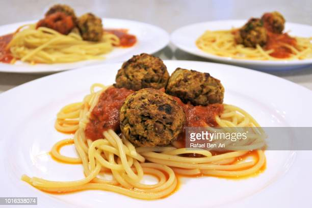 Vegetarian Lentil Spaghetti Meatballs Dish
