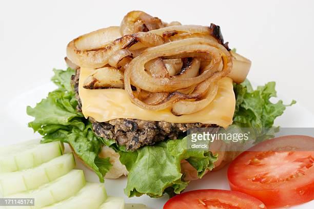 vegetarian meatless open face cheese burger plate