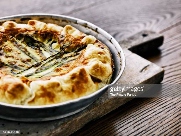 Vegetarian quiche with zucchini and cheese