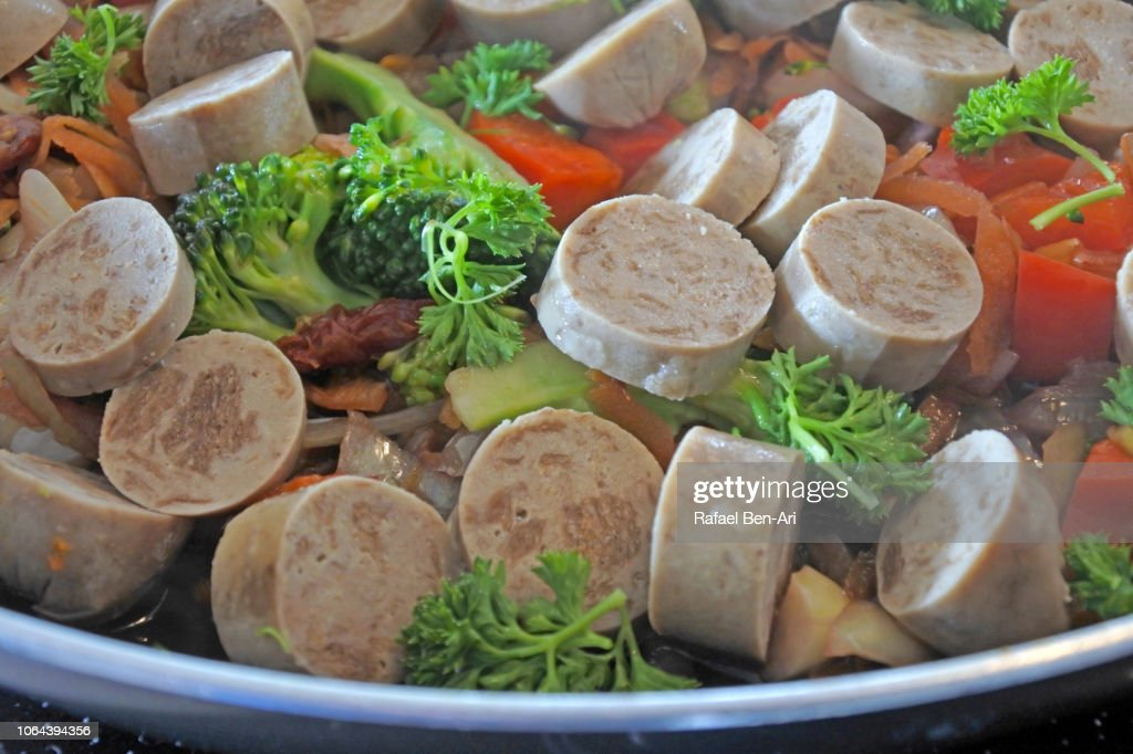 Vegetarian Sausages and Vegetables Dish : Stock Photo