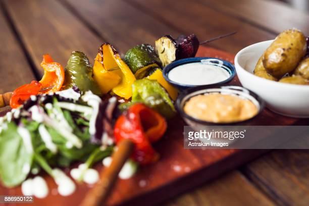 Vegetarian shashlik with dip