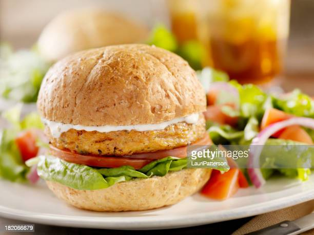 Vegetarian Soy Burger with Spinach