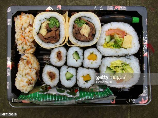 vegetarian sushi in a take out box - おかず系 ストックフォトと画像