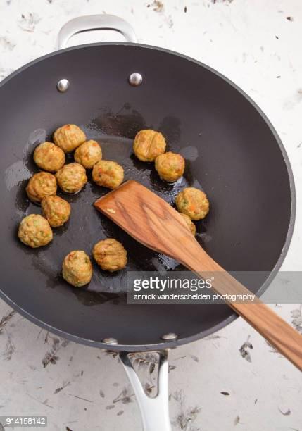 Vegetarian vegetable balls in wok.