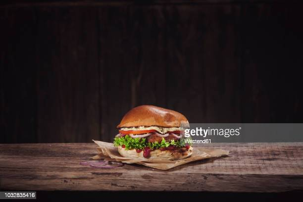 veggie burger - wax paper stock photos and pictures