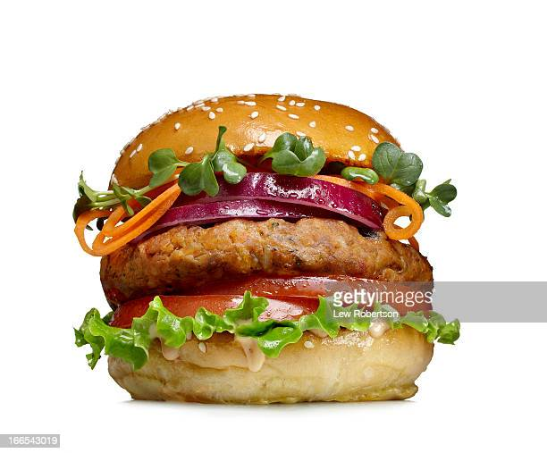 veggie burger - burger stock pictures, royalty-free photos & images