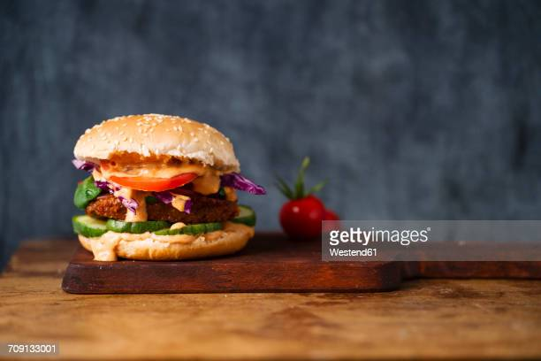 veggie burger - sauce stock pictures, royalty-free photos & images