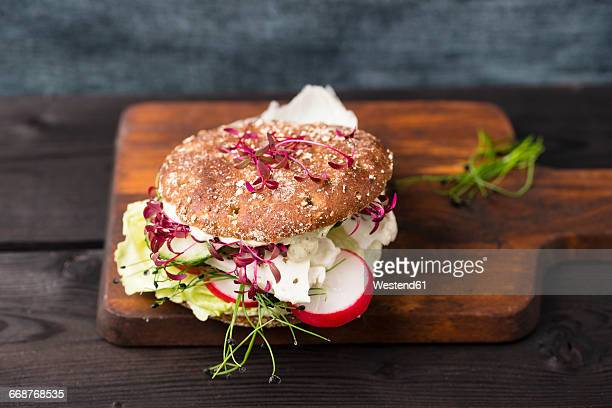 Veggie Burger, vegan, with salad, radish, tomato, basil halloumi and rock chive