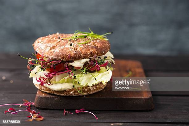 Veggie Burger, vegan, with salad, radish, tomato, rock chive