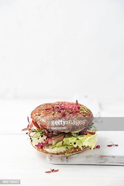 Veggie Burger, vegan, with salad, radish, tomato, rock chives
