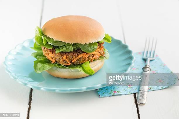 Veggie burger with lentil dumpling