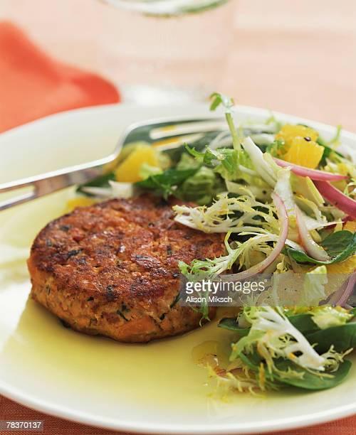 Veggie patty with salad