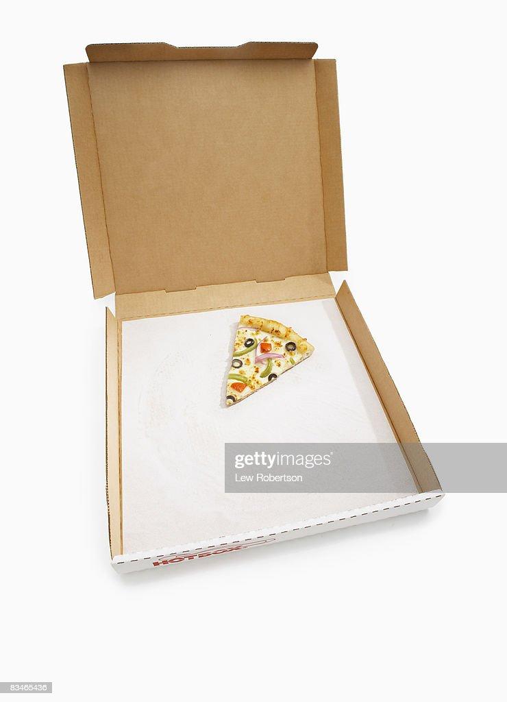 Veggie Pizza Slice in box : Stock Photo