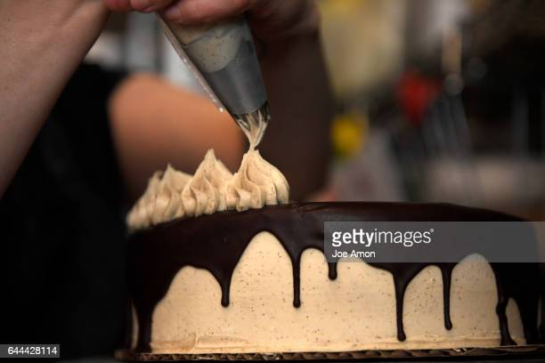 Vegan espresso icing decorating a vegan chocolate mocha cake at Make Believe Bakery a vegan bakery in downtown that also offers gluten free vegan...
