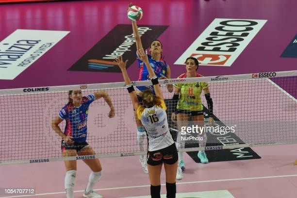 Veglia Tiziana from team BV Millenium Brescia playing during volley match in Pala Igor Novara in Novara Italy