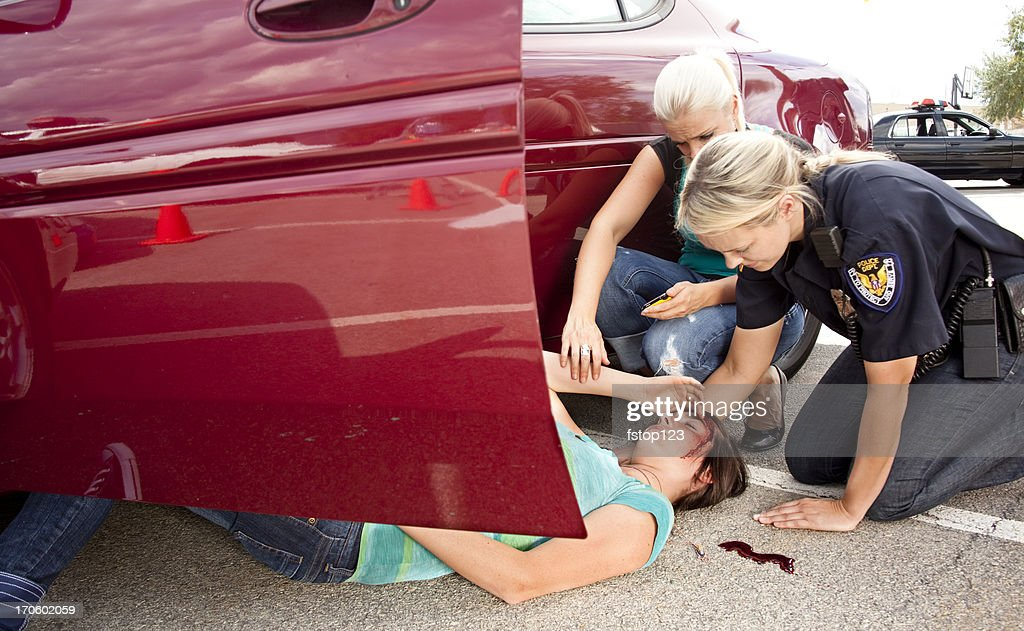 Vehicle accident, car crash. Victim, driver injured. Police. Wreck. : Stock Photo