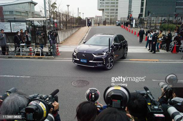 A vehicle carrying former Nissan Motor Co Chairman Carlos Ghosn's wife Carole Ghosn and his daughter Caroline Ghosn leaves the Tokyo Detention House...
