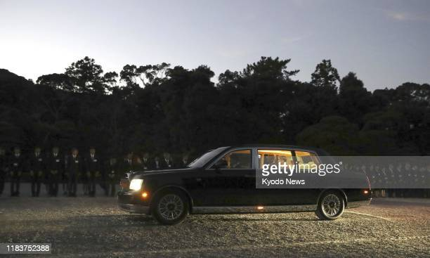 Vehicle carrying Japanese Emperor Naruhito and Empress Masako arrives at Ise Jingu shrine in Ise, central Japan, on Nov. 21, 2019. The imperial...