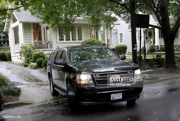 A vehicle carrying Supreme Court nominee Brett Kavanaugh departs from Kavanaugh's home on September 24 2018 in Washington DC Kavanaugh is scheduled...