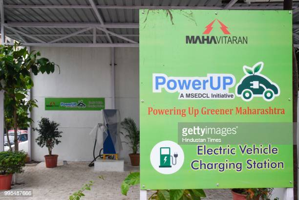 E Vehicle charging station at Baner on July 9 2018 in Pune India With citizens moving towards electric vehicles the Maharashtra State Electricity...