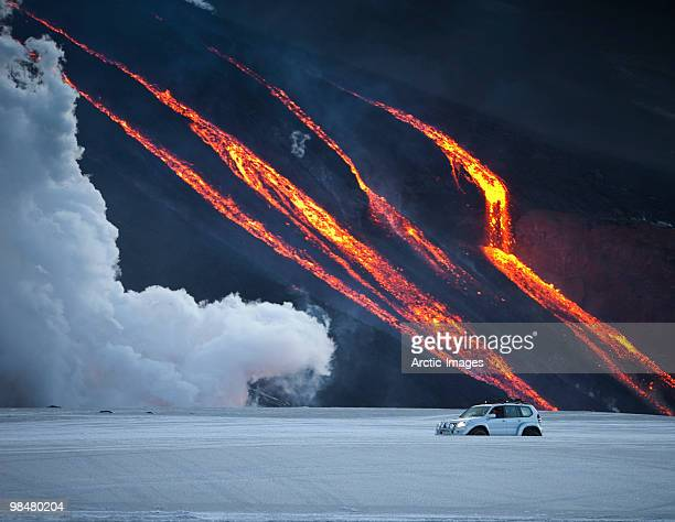 Vehicle close to Volcano Eruption.
