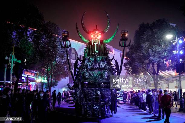 Vehicle decoration in Halloween-themed perform during the Parade event of a celebration for Halloween at the Happy Valley on October 29, 2020 in...