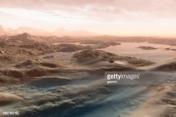 vehicle driving between martian lakes - extrasolar planet stock pictures, royalty-free photos & images