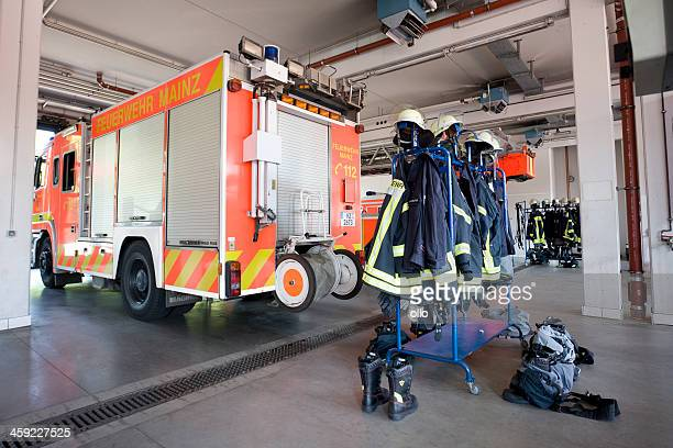 vehicle hall of fire brigade mainz, germany - fire station stock photos and pictures