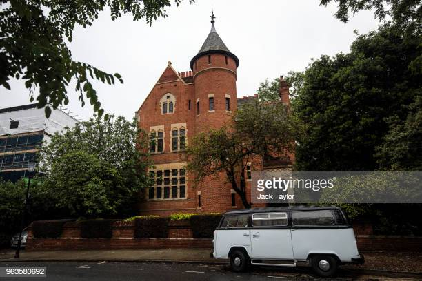 A vehicle is parked outside the home of Jimmy Page stands in Kensington and Chelsea on May 29 2018 in London England British singer Robbie Williams...