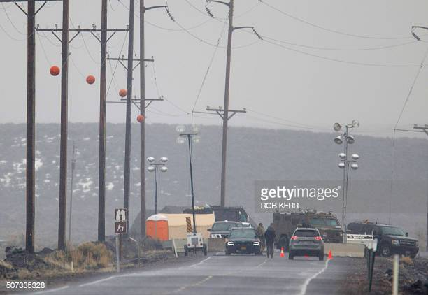 A vehicle is stopped at a checkpoint along Highway 78 located approximately 4 miles from the Malheur Wildlife Refuge Headquarters near Burns Oregon...