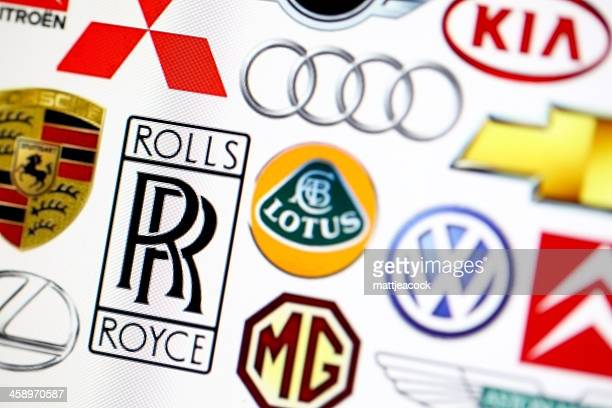 vehicle manufacturer logos - logo design stock photos and pictures