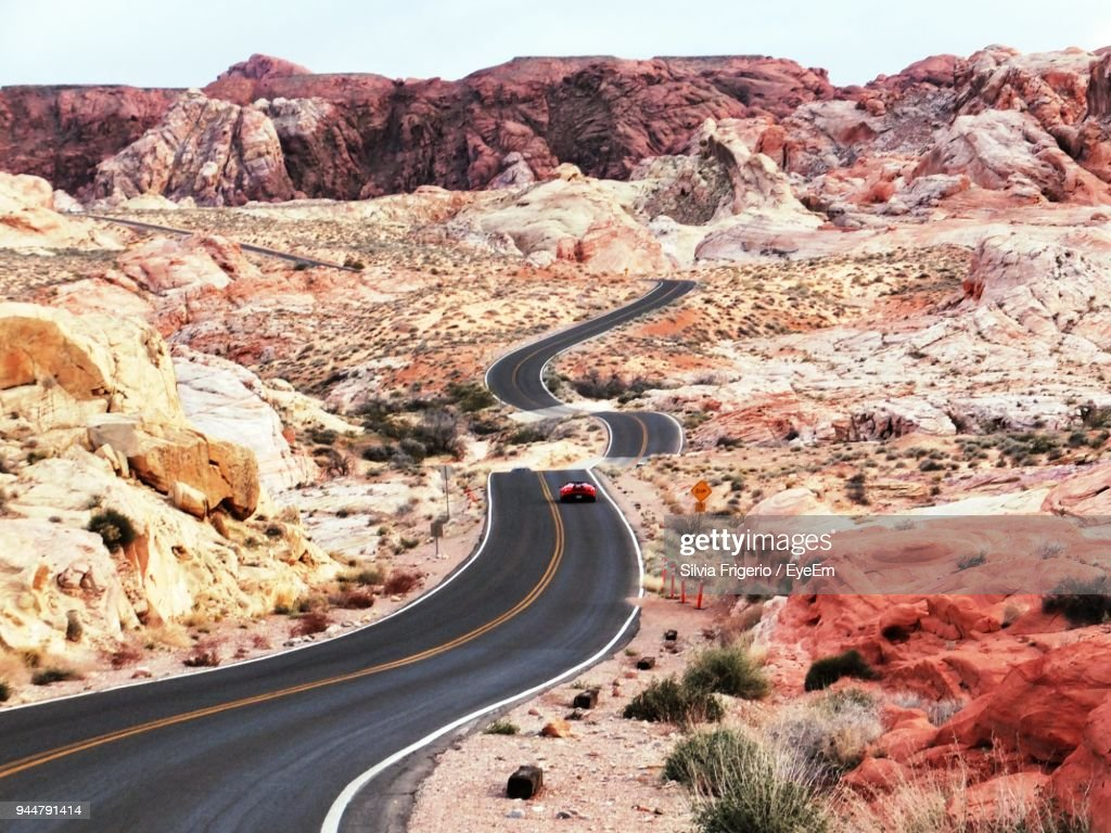 Vehicle Of Country Road In Desert : Stock Photo