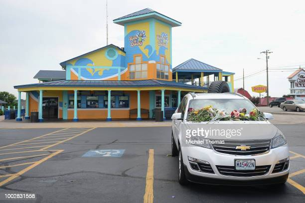 A vehicle of one of the Ride The Ducks accident victims is seen as it has become a memorial on July 20 2018 in Branson Missouri Hundreds of mourners...