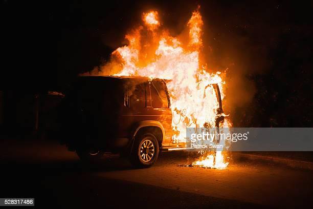 A Vehicle On Fire; Dublin Dublin County Ireland