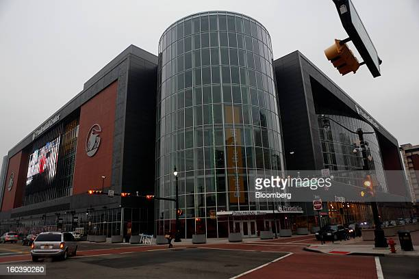 A vehicle passes through the intersection outside the Prudential Center home to the National Hockey League's New Jersey Devils in Newark New Jersey...