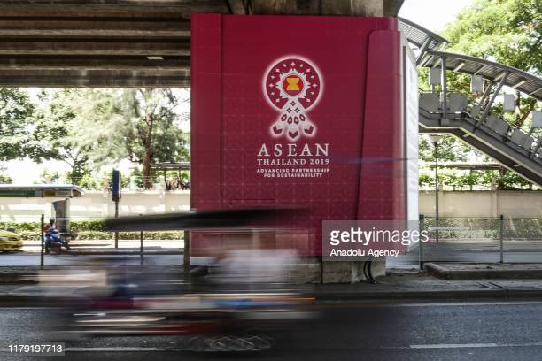 Vehicle past the 35th ASEAN Summit welcoming sign at Ratchadamri in Bangkok Thailand on October 31 2019 Thailand will host the annual meeting of...