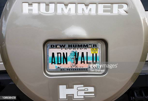 Vehicle registration plate on Hummer sports utility vehicle in Anna Maria Island United States of America