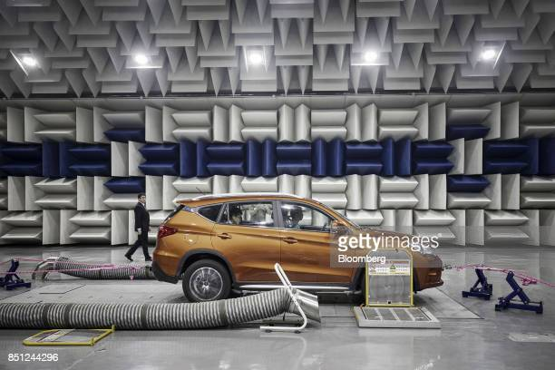 A vehicle sits in an acoustics testing lab at the BYD Co headquarters in Shenzhen China on Thursday Sept 21 2017 China will likely order an end to...