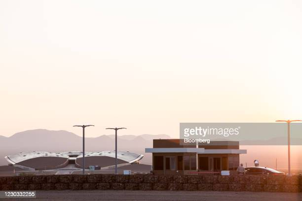 Vehicle stops at a security booth at the entrance to Spaceport America in Truth or Consequences, New Mexico, U.S., on Wednesday, Sept. 16, 2020....