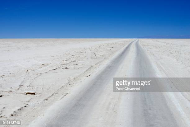 Vehicle tracks on the salt lake, Salar de Uyuni, Uyuni, Potosi, Bolivia