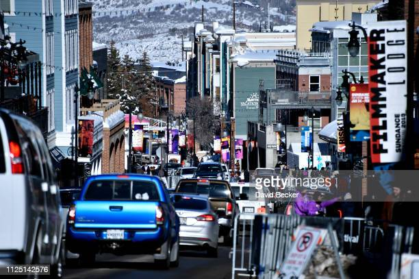 Vehicle traffic is backed up along Main Street during the 2019 Sundance Film Festival on January 26 2019 in Park City Utah