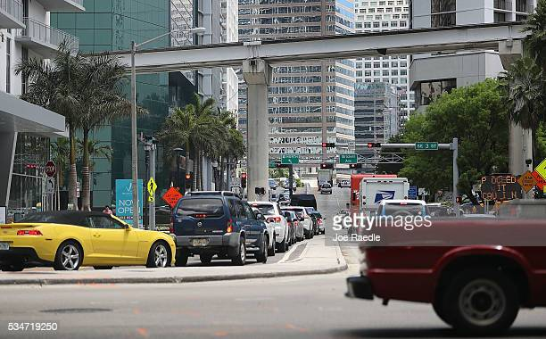Vehicle traffic is seen in the street as people prepare for the Memorial Day weekend on May 27 2016 in Miami Florida AAA is predicting 34 million...